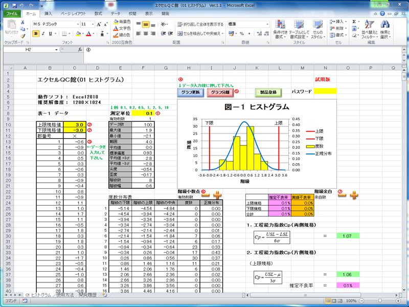 2.2 品質管理ソフト QC7つ道具 2.2.1 エクセルQC館(01 ヒストグラム) 2.2.2 エクセルQC館(02 管理図) 2.2.3 エクセルQC館(03 パレート図)